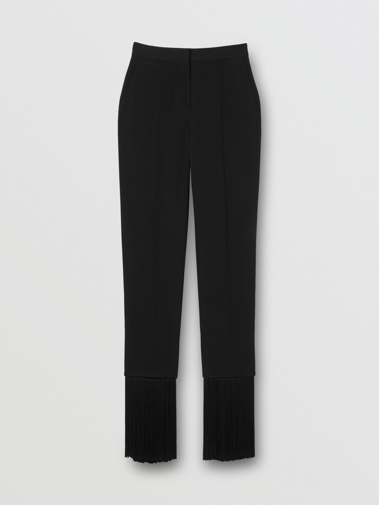 Fringed Grain De Poudre Wool Tailored Trousers in Black