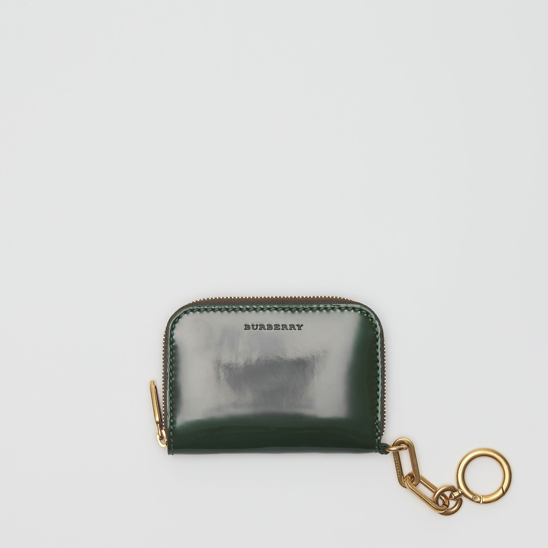 Link Detail Patent Leather Ziparound Wallet in Dark Forest Green - Women | Burberry - gallery image 2