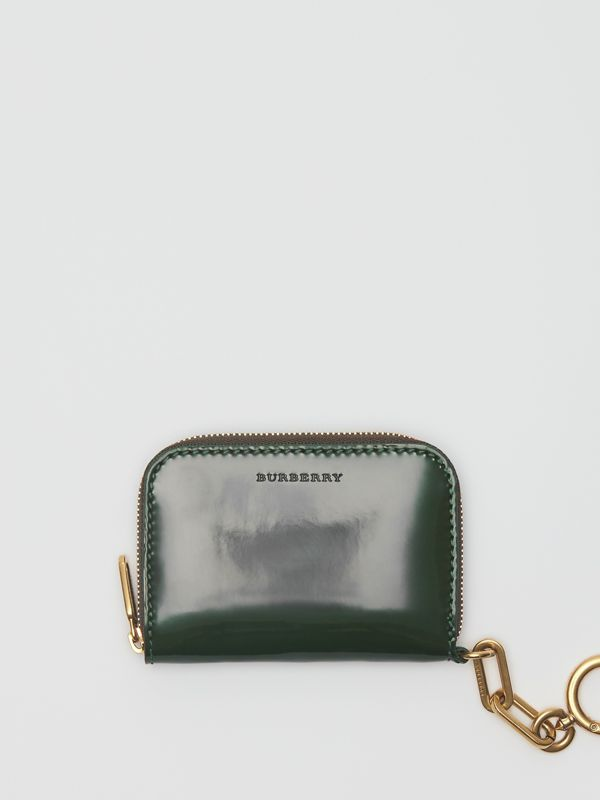 Link Detail Patent Leather Ziparound Wallet in Dark Forest Green - Women | Burberry - cell image 2