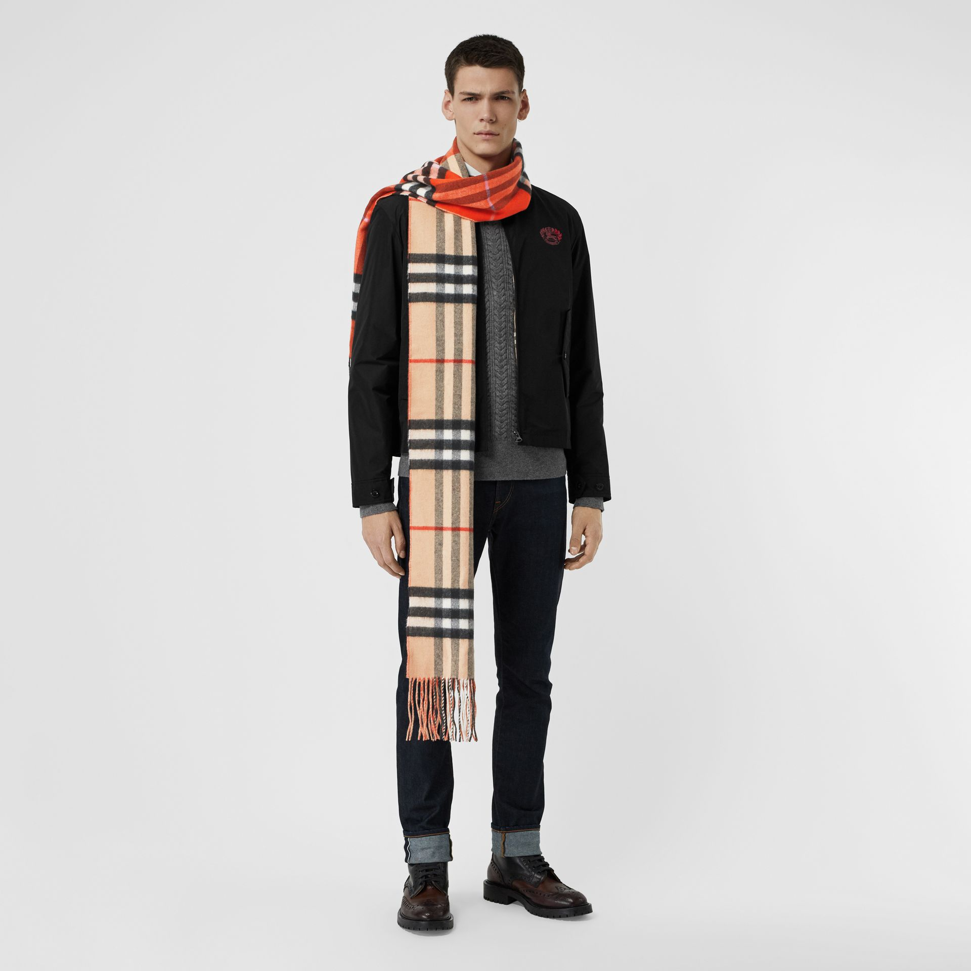 Long Reversible Colour Block Double-faced Cashmere Scarf in Bright Orange Red | Burberry - gallery image 3