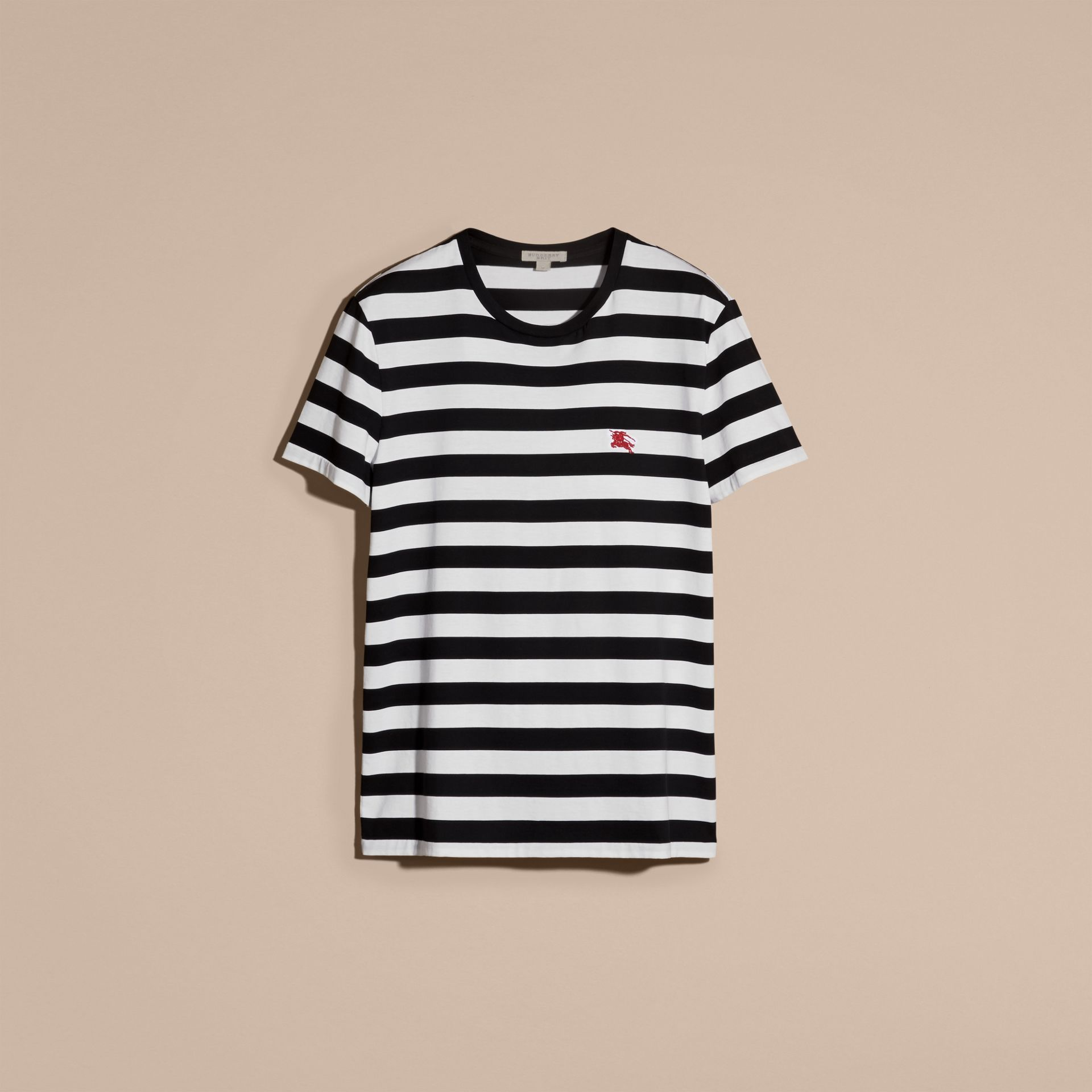 Striped Cotton T-Shirt in Black/white - gallery image 4