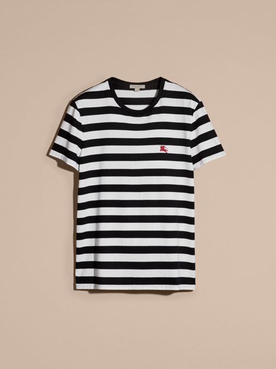 Striped Cotton T-Shirt in Black/white - cell image 3