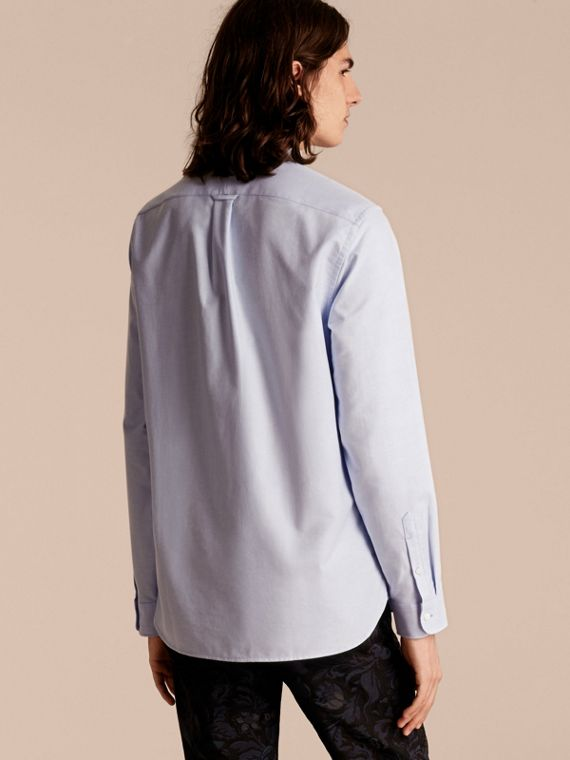 Cornflower blue Ruffle Detail Cotton Oxford Shirt - cell image 2