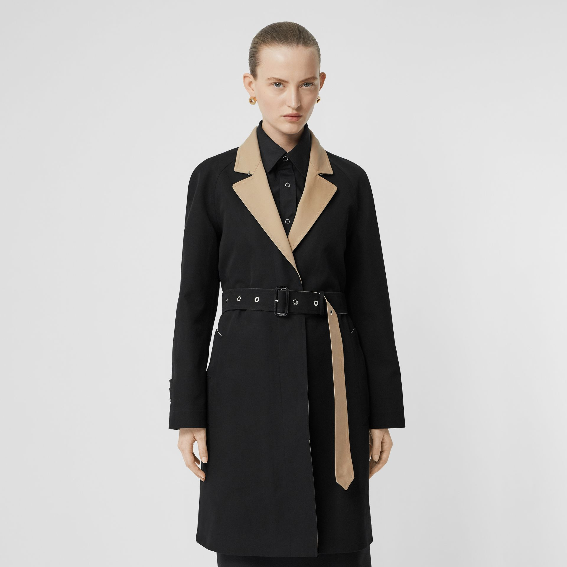 Two-tone Tropical Gabardine Belted Car Coat in Black/honey - Women | Burberry - gallery image 6
