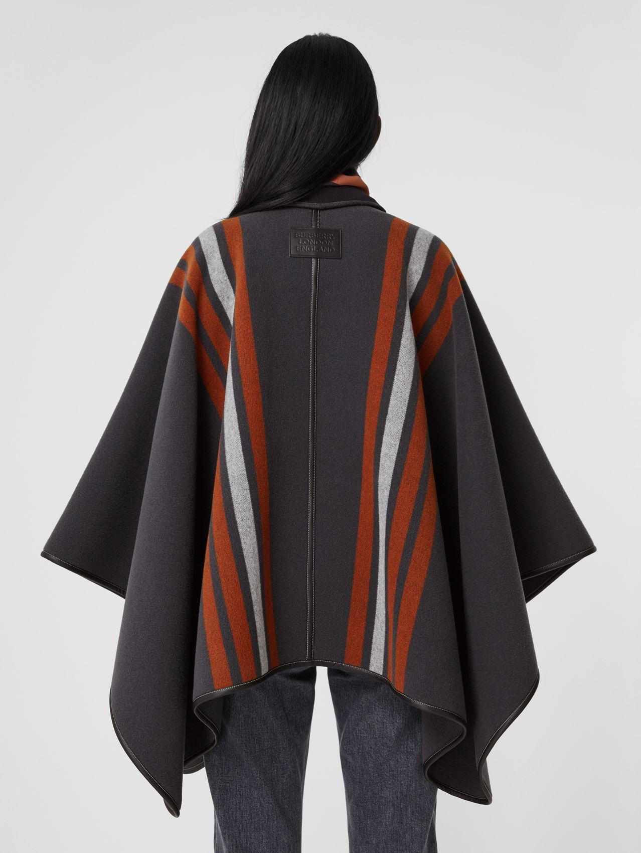 Stripe Detail Wool Cape in Mid Grey