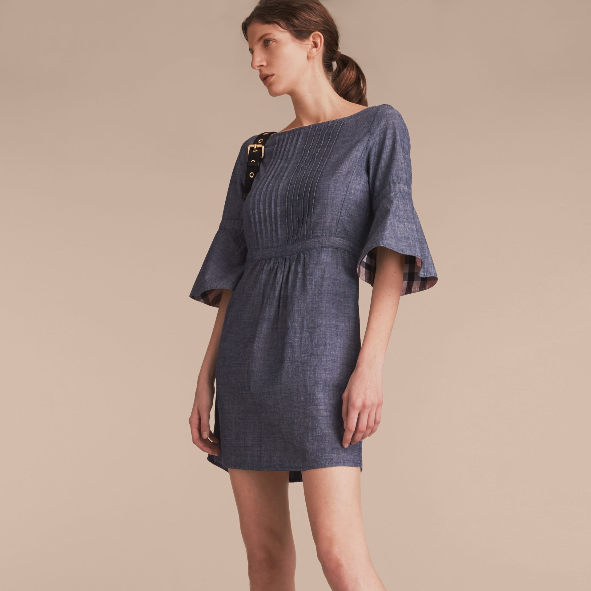 Bell Sleeve Cotton Chambray Dress with Check Detail - gallery image 6