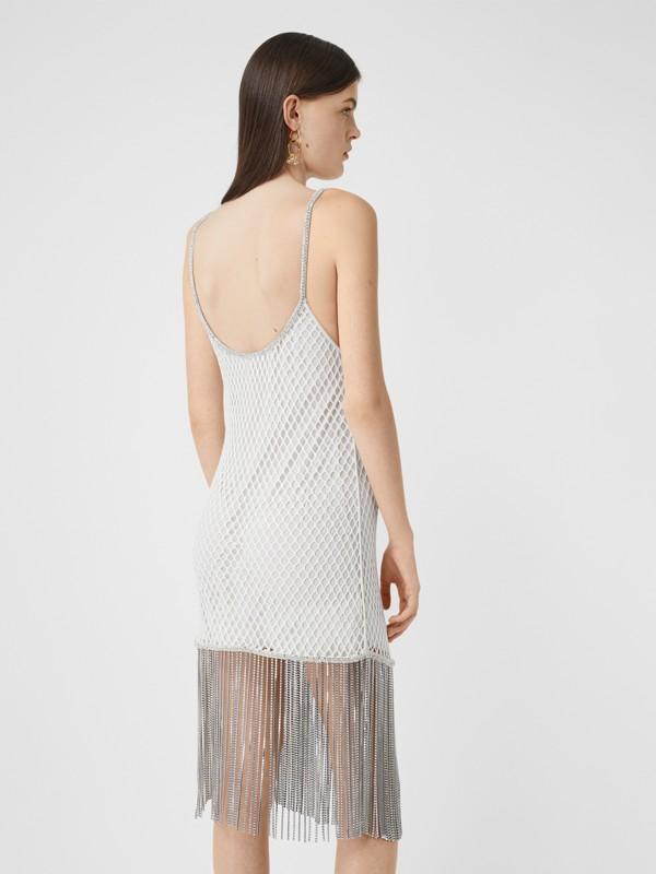 Vestido en malla de algodón con flecos de cristales (Blanco) - Mujer | Burberry - cell image 2