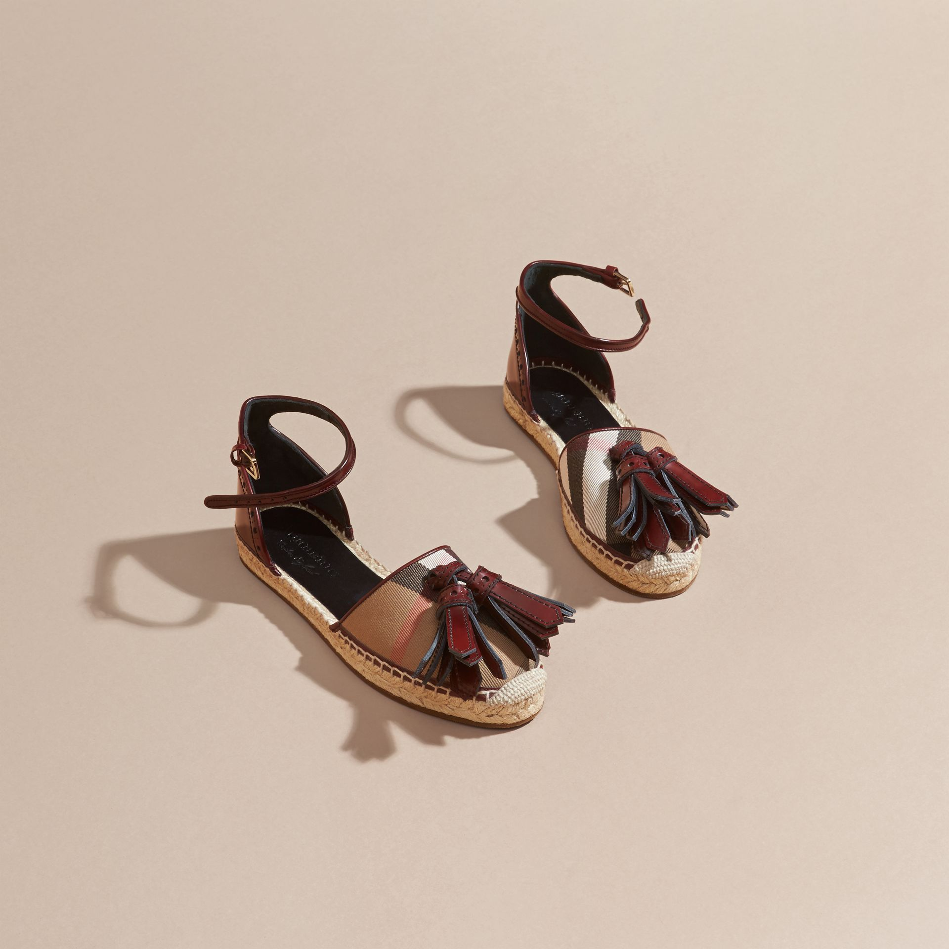 Bordeaux Tasselled Leather and House Check Espadrille Sandals - gallery image 3