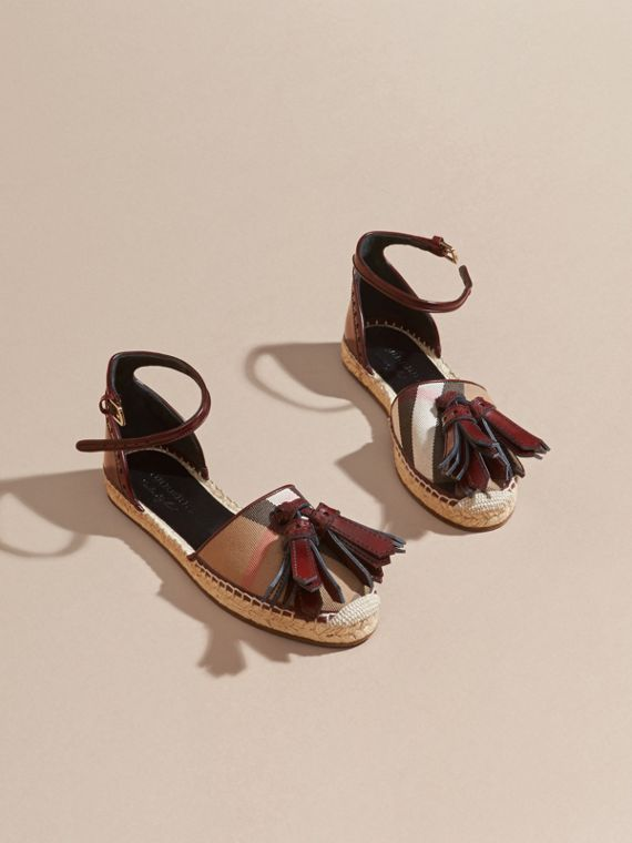 Bordeaux Tasselled Leather and House Check Espadrille Sandals - cell image 2