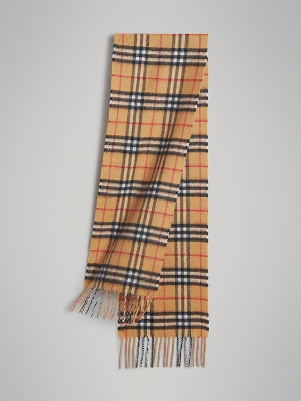 The Mini Classic Vintage Check Cashmere Scarf in Antique Yellow