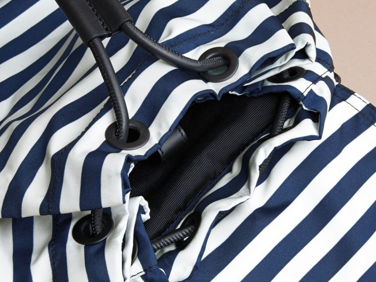 The Large Rucksack in Striped Nylon with Pallas Helmet Motif - cell image 4
