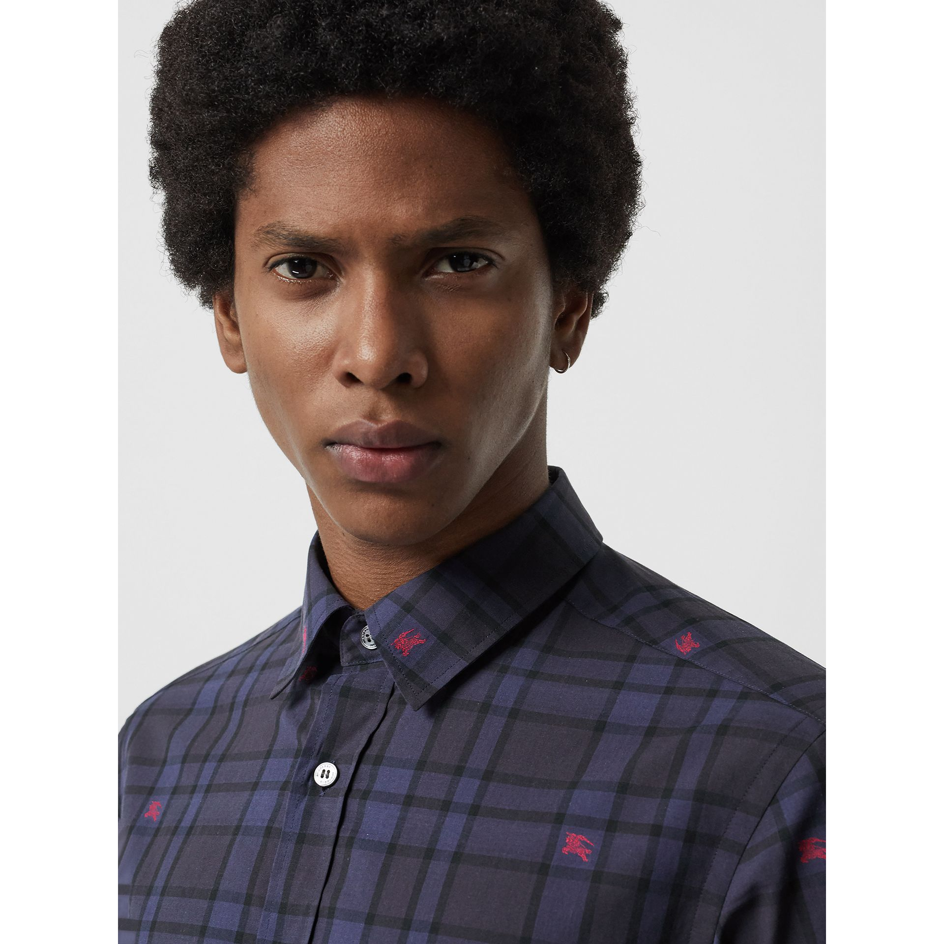 Equestrian Knight Check Cotton Shirt in Dark Indigo - Men | Burberry Singapore - gallery image 1