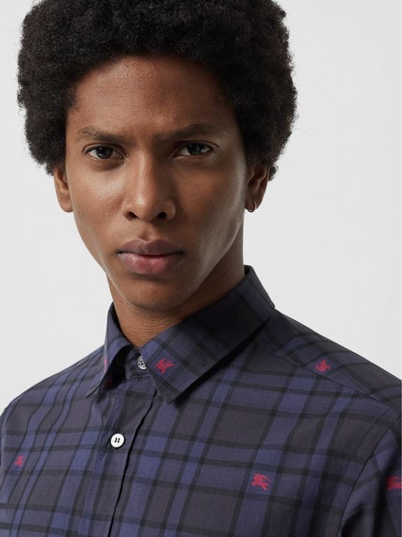Equestrian Knight Check Cotton Shirt in Dark Indigo - Men | Burberry United Kingdom - cell image 1