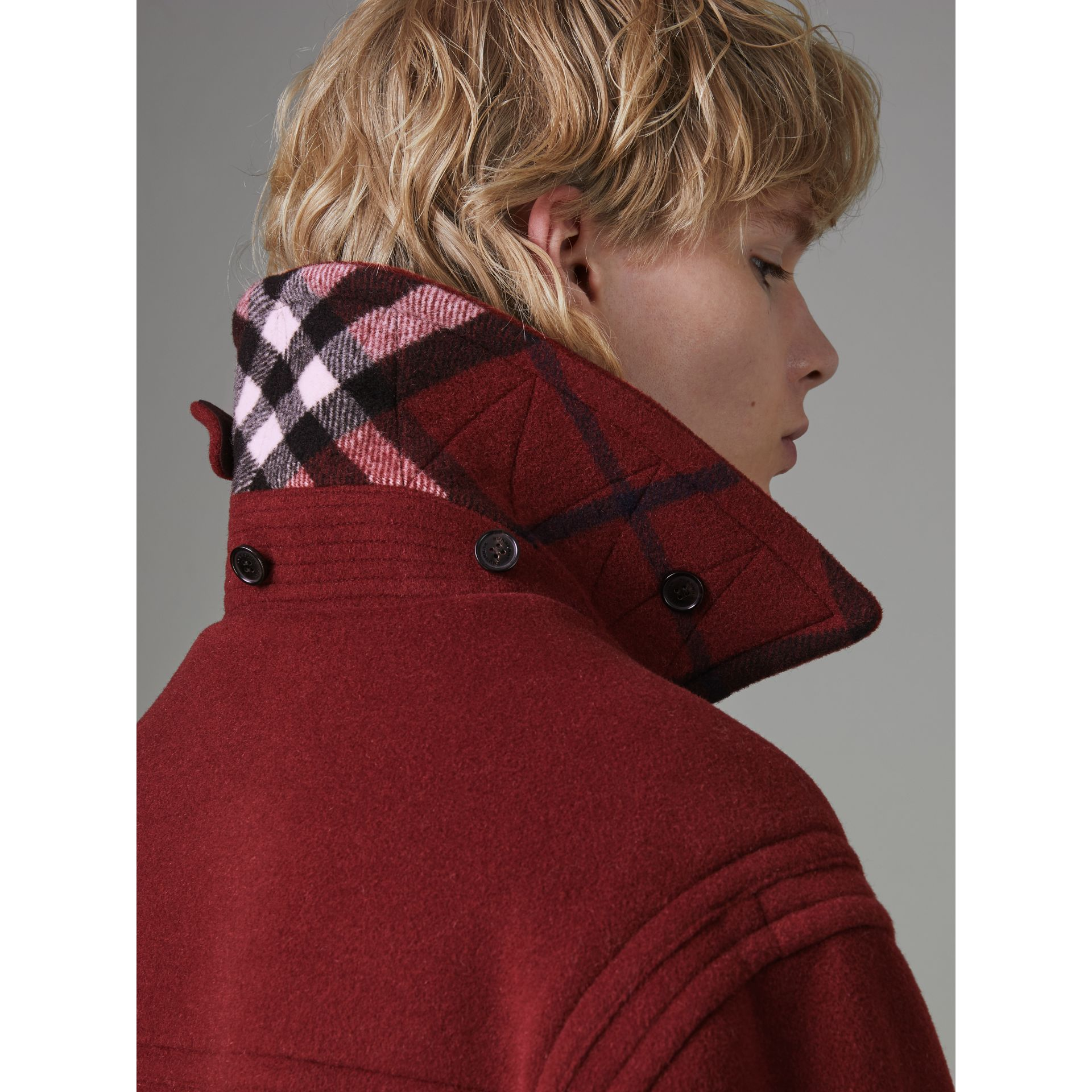 Gosha x Burberry Oversized Duffle Coat in Claret | Burberry - gallery image 4