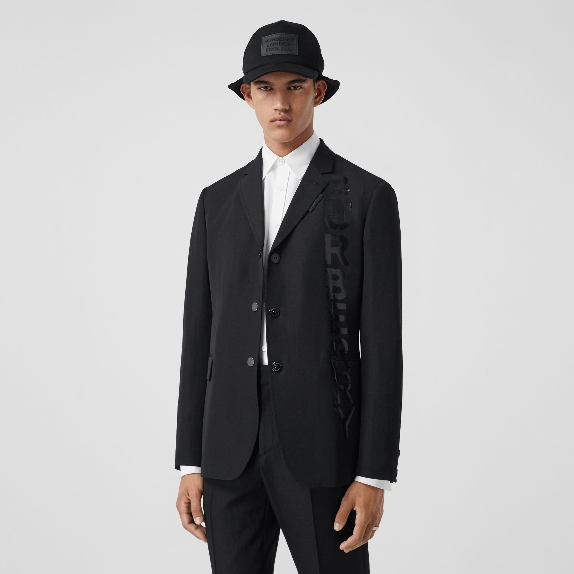 Logo Print Wool Gabardine Tailored Jacket in Black - Men | Burberry - gallery image 0