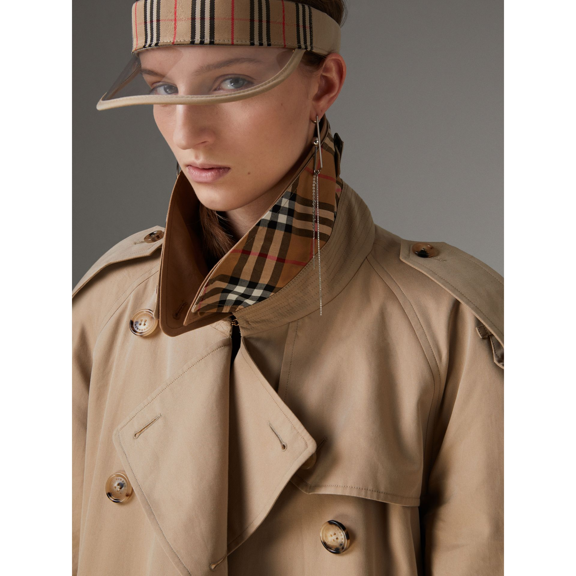 Cotton Gabardine Reconstructed Car Coat in Honey - Women | Burberry - gallery image 1