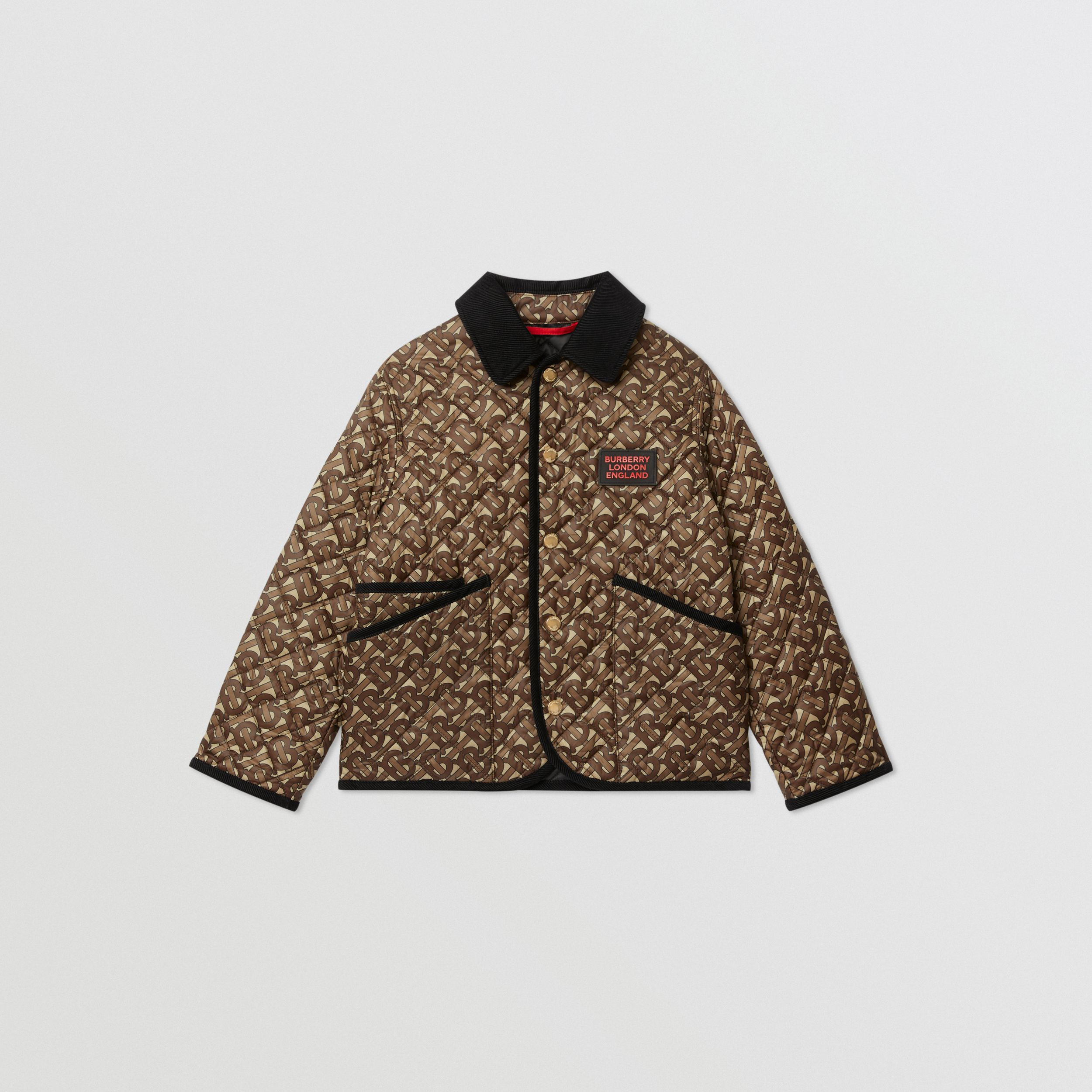 Monogram Print Diamond Quilted Jacket in Bridle Brown | Burberry - 1