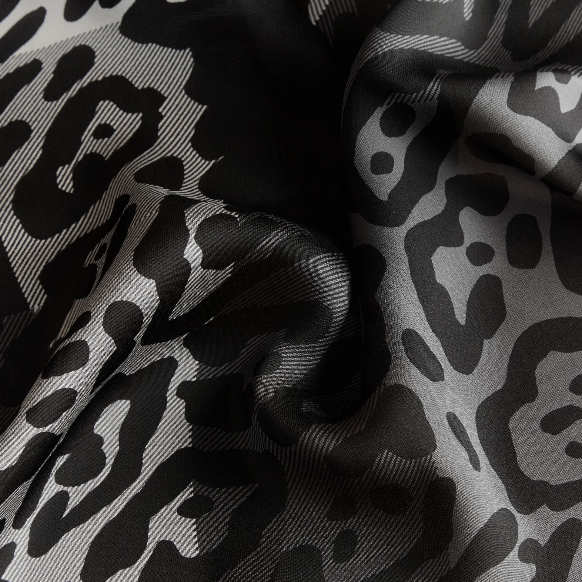 Lightweight Animal Print Check Silk Scarf Mid Grey/black - gallery image 2