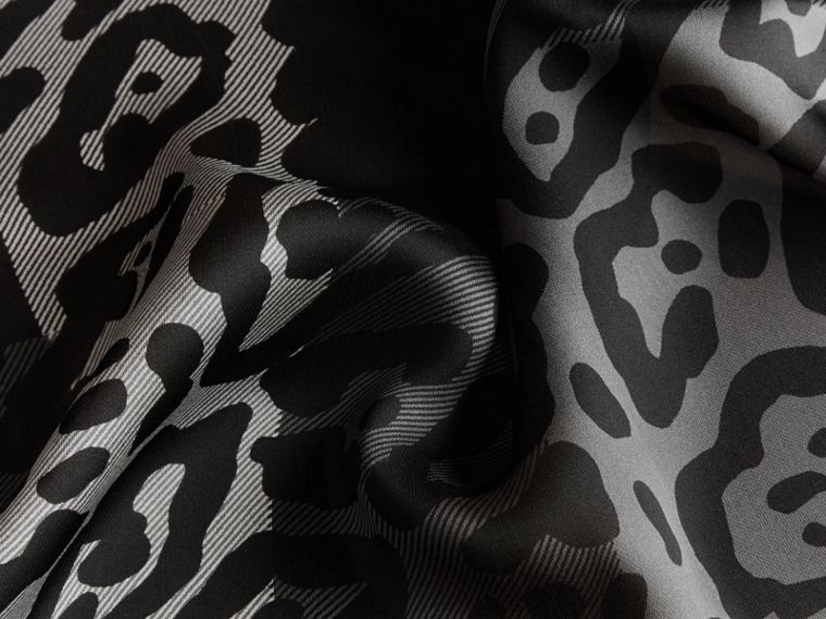 Lightweight Animal Print Check Silk Scarf Mid Grey/black - cell image 1