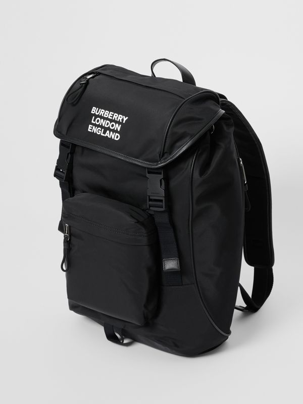 Logo Print ECONYL® Backpack in Black | Burberry Australia - cell image 3