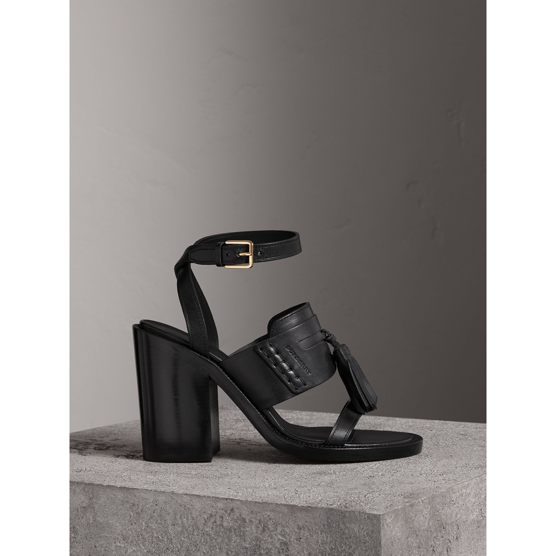 Tasselled Leather Block-heel Sandals in Black - Women | Burberry - gallery image 0