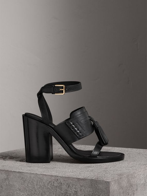 Tasselled Leather Block-heel Sandals in Black