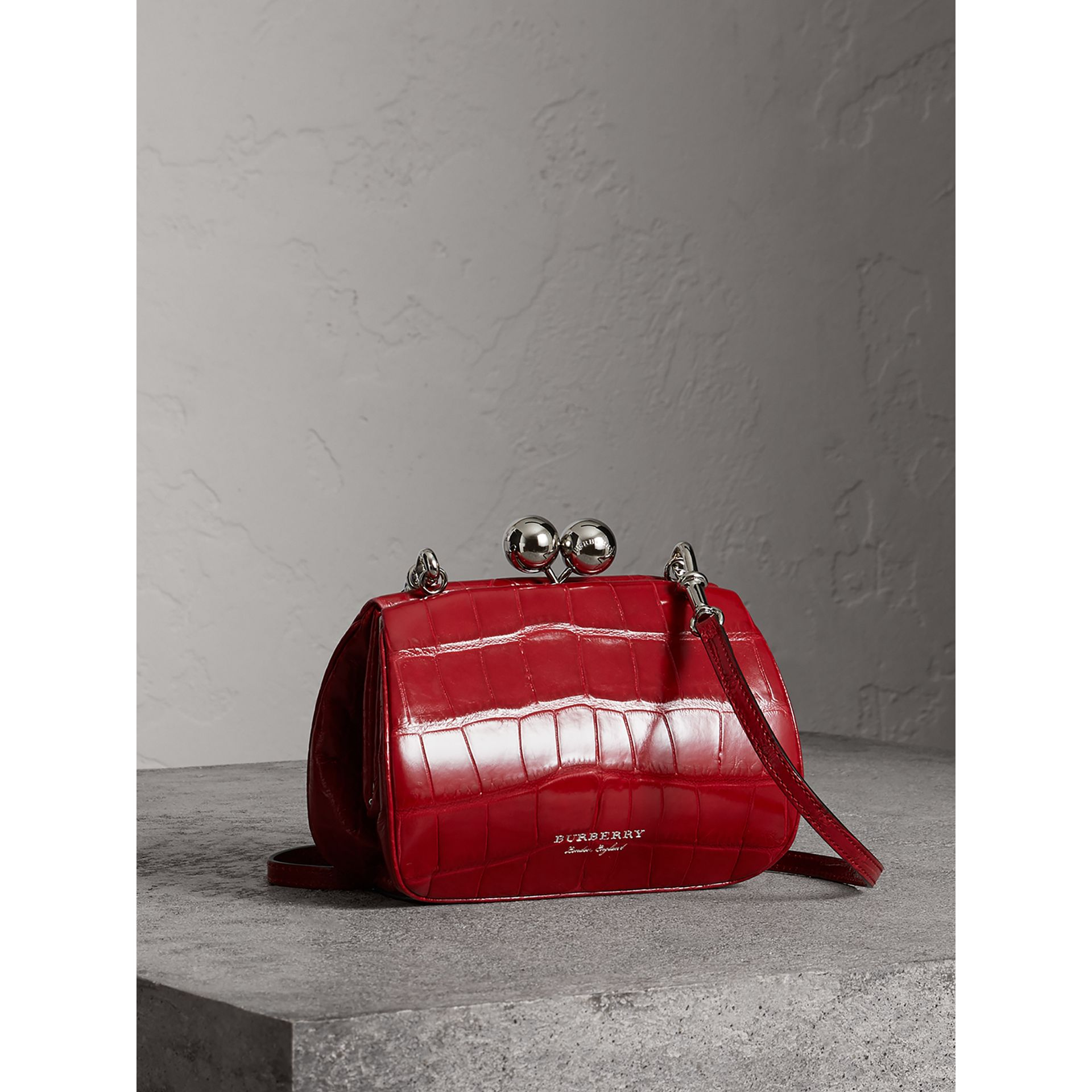 Small Alligator Metal Frame Clutch Bag in Bright Red - Women | Burberry - gallery image 4