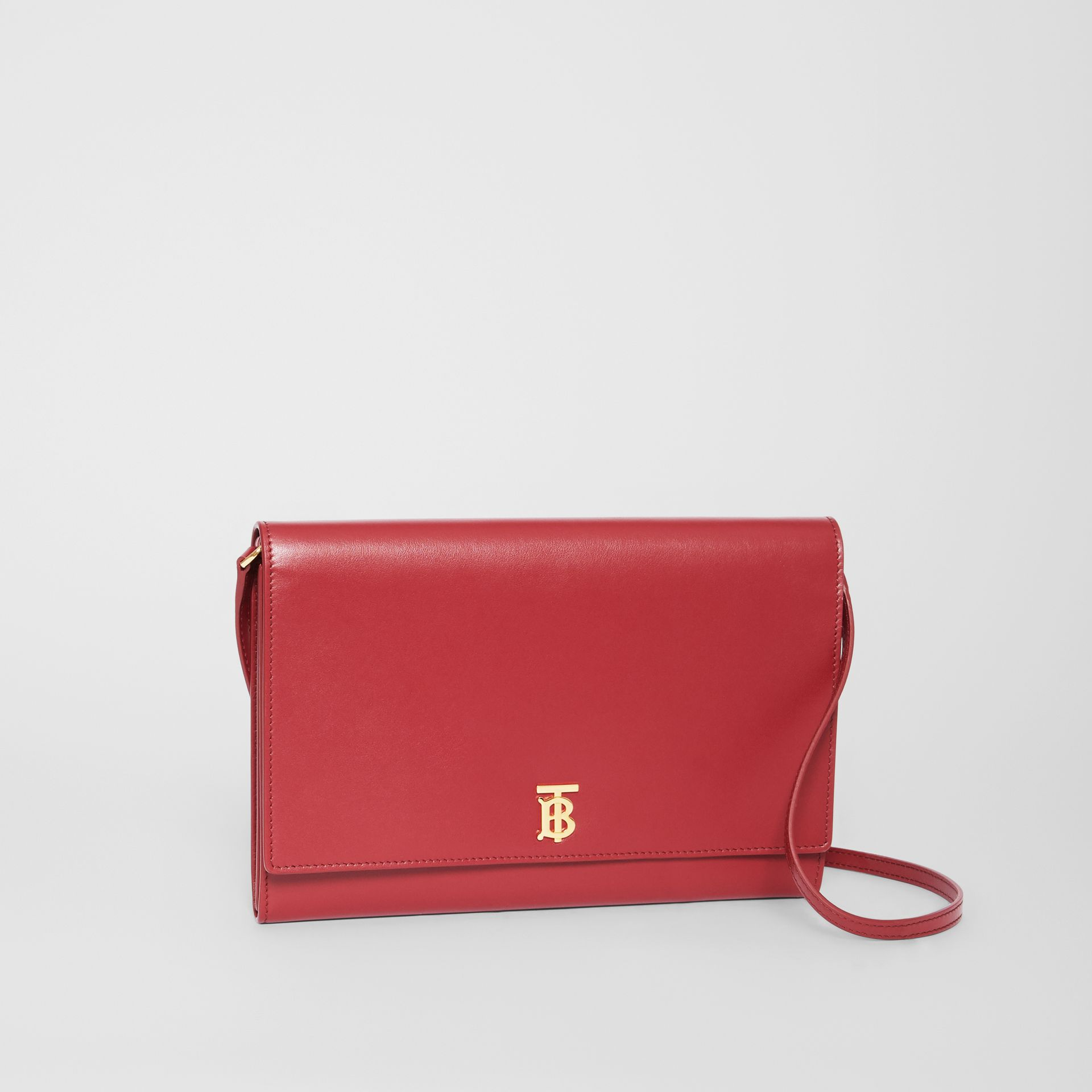 Monogram Motif Leather Bag with Detachable Strap in Crimson - Women | Burberry - gallery image 6