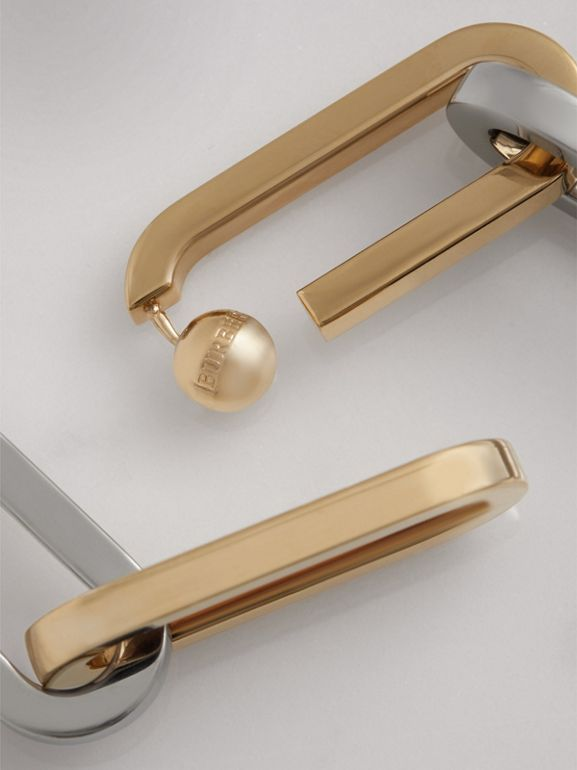 Gold and Palladium-plated Link Drop Earrings in Light Gold/palladio - Women | Burberry - cell image 1