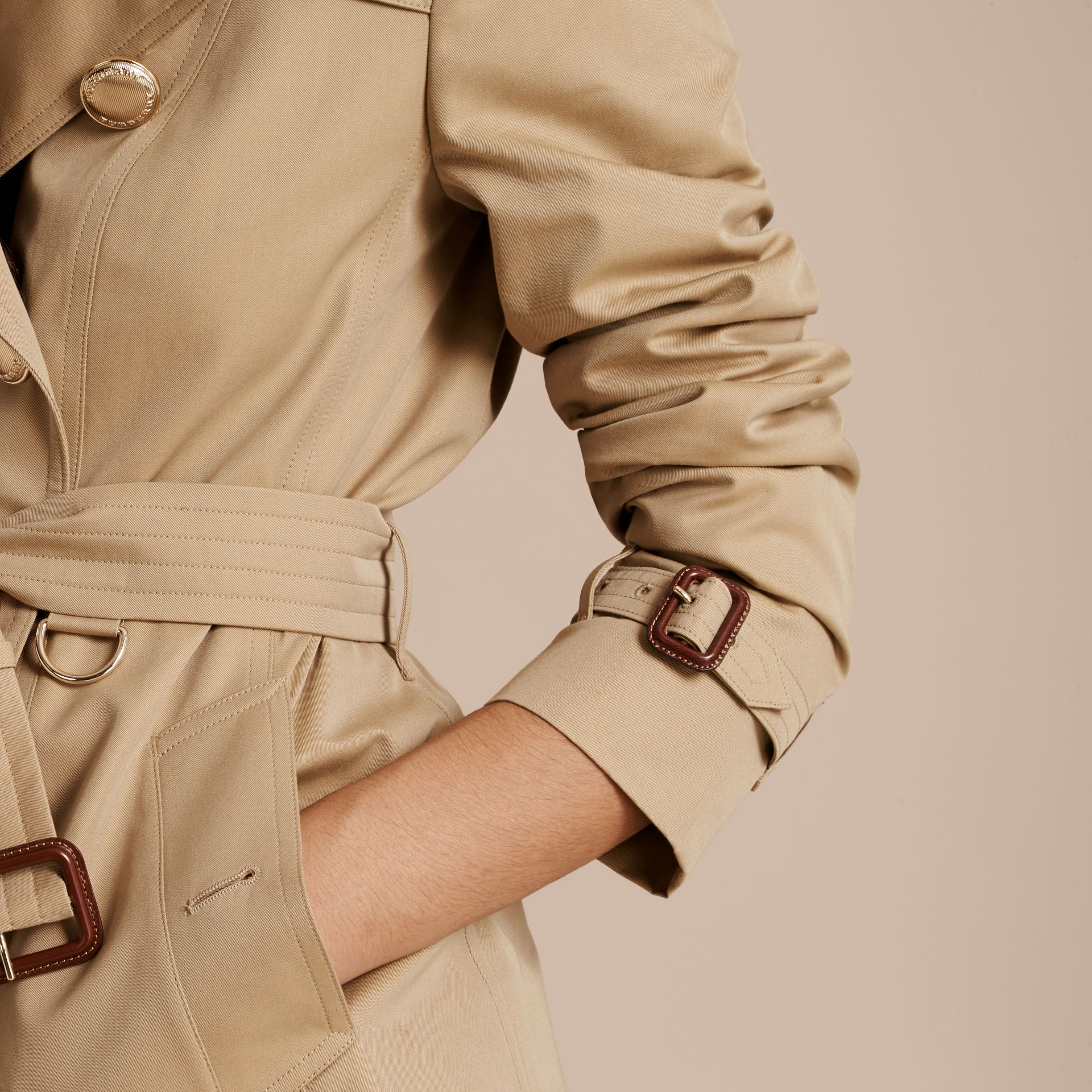 Honey Leather Detail Cotton Gabardine Trench Jacket - gallery image 6