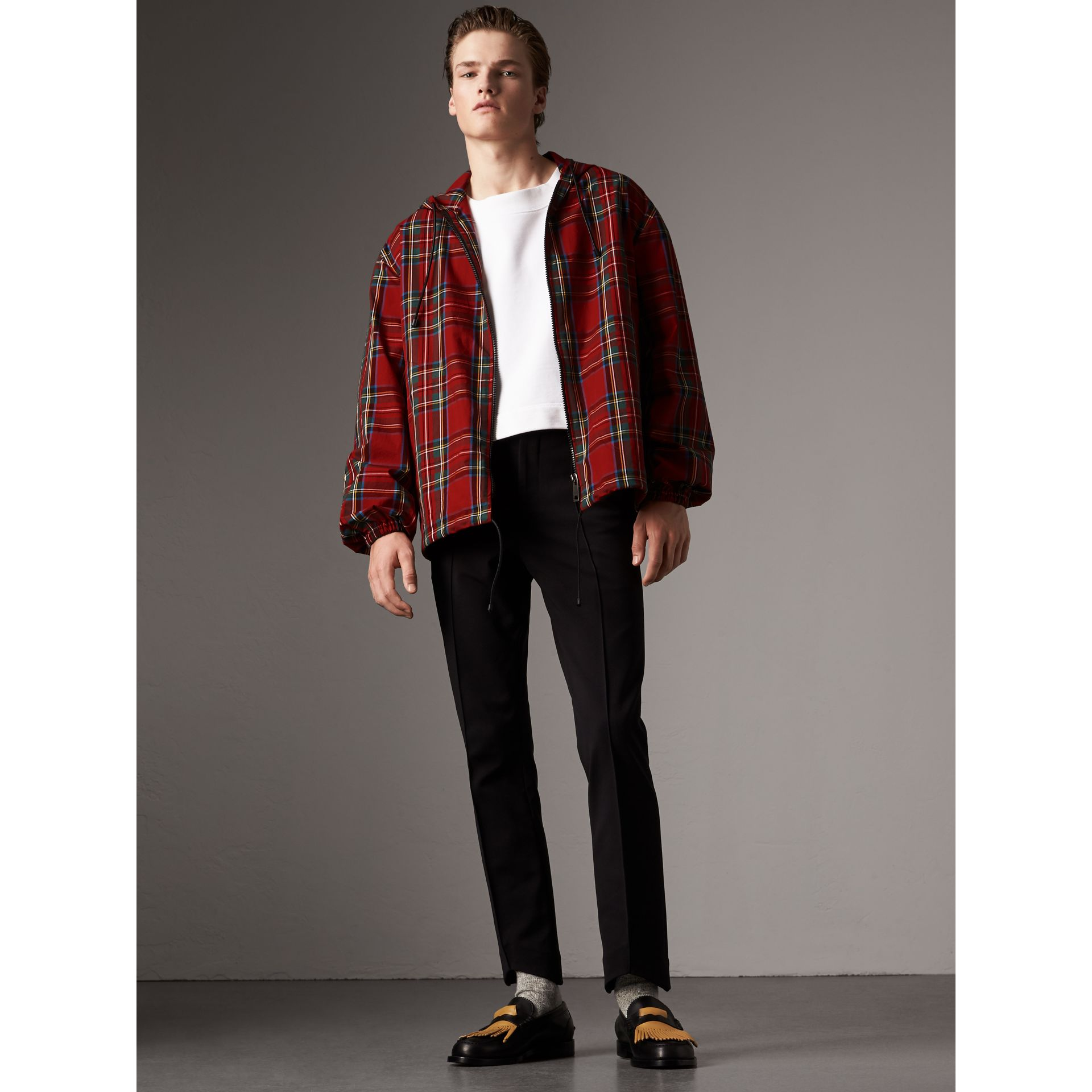 Tartan Cotton Hooded Jacket in Bright Red - Men | Burberry United States - gallery image 0