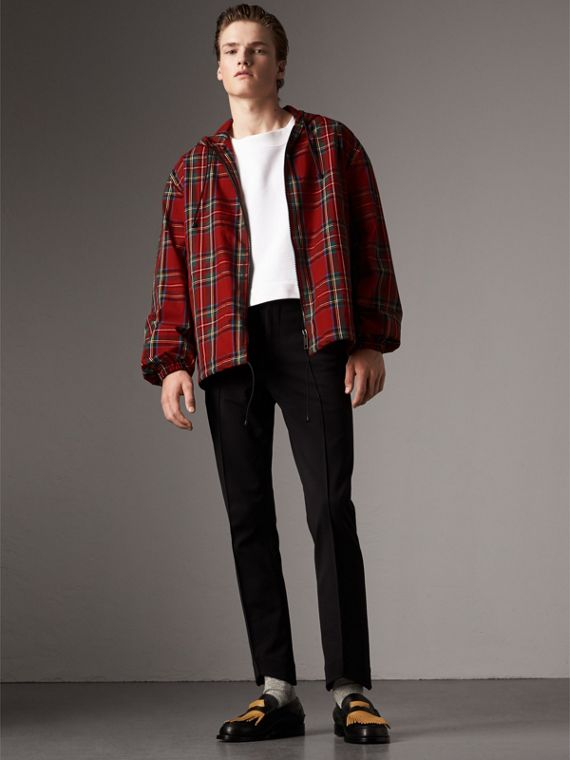 Tartan Cotton Hooded Jacket in Bright Red