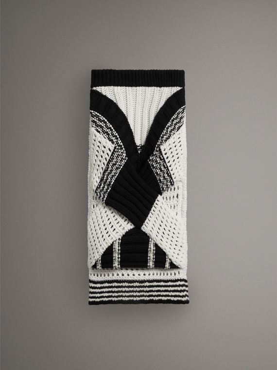 Knitted Wool Cross-panel Skirt in White/black
