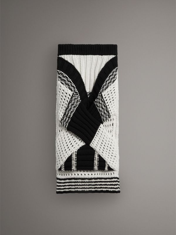 Knitted Wool Cross-panel Skirt in White/black - Women | Burberry United Kingdom - cell image 3