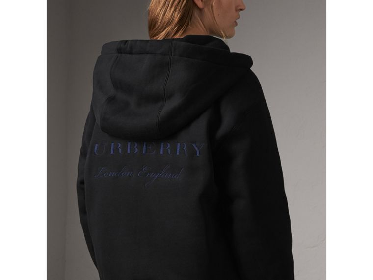 Reversible Down-filled Hooded Bomber Jacket in Black - Women | Burberry Australia - cell image 4