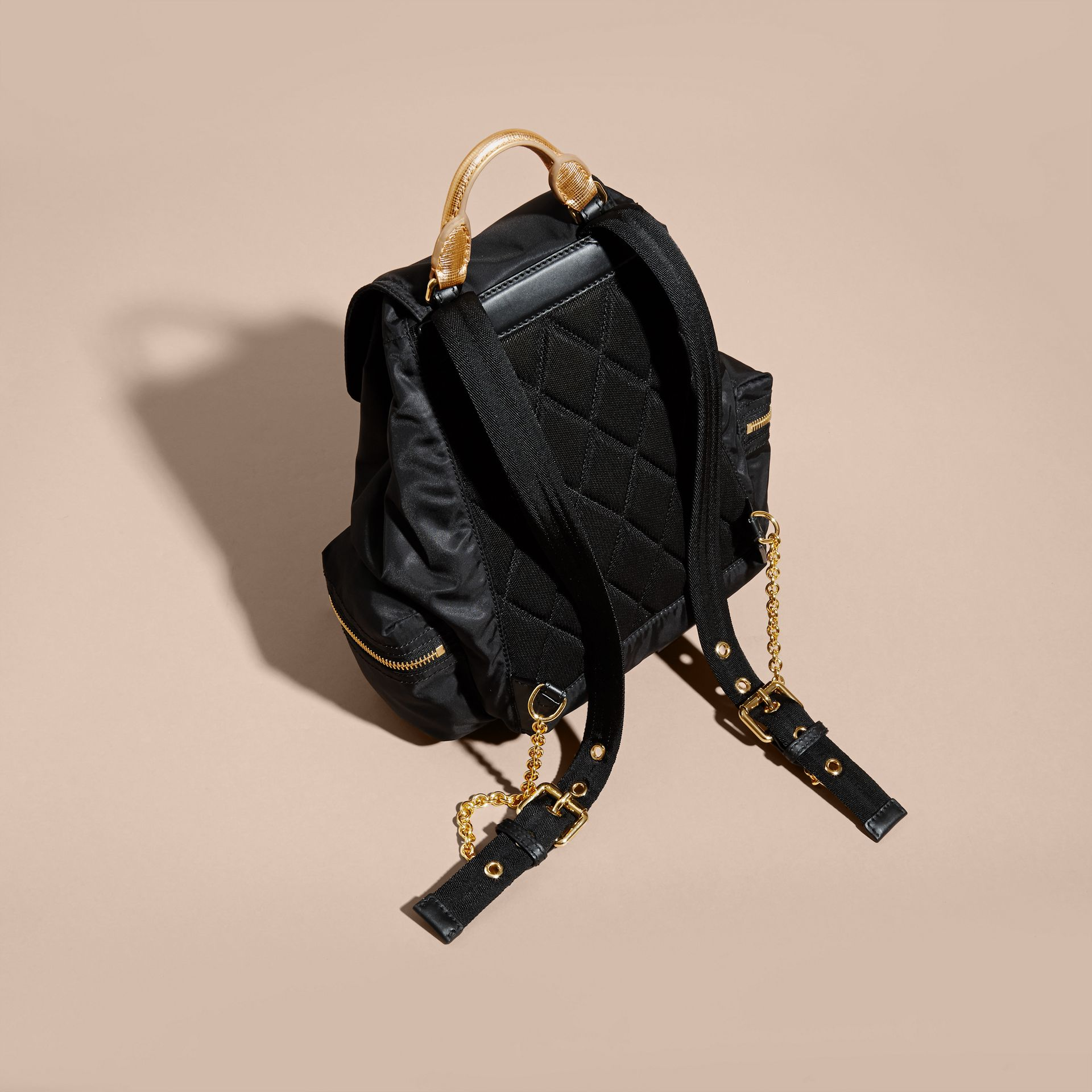 The Medium Rucksack in Two-tone Nylon and Leather Black/gold - gallery image 4