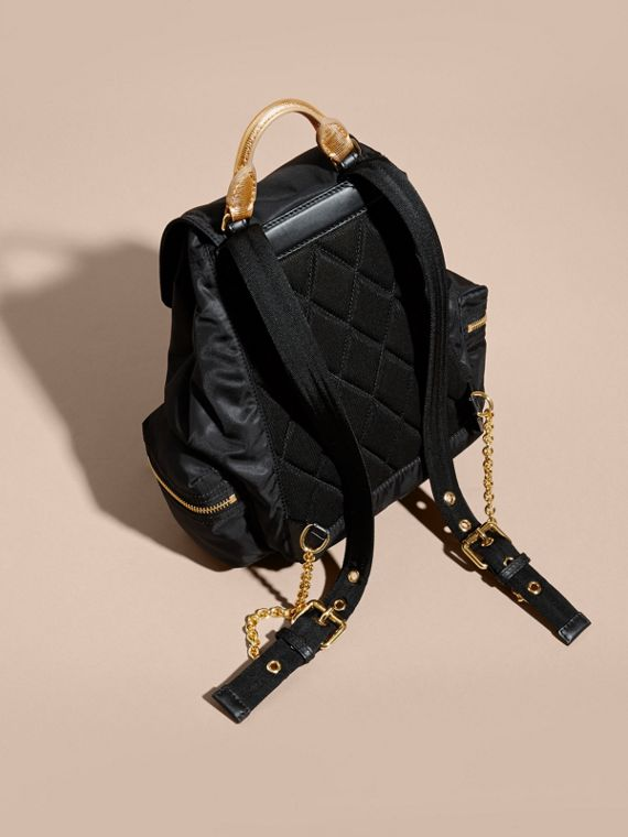 The Medium Rucksack in Two-tone Nylon and Leather Black/gold - cell image 3