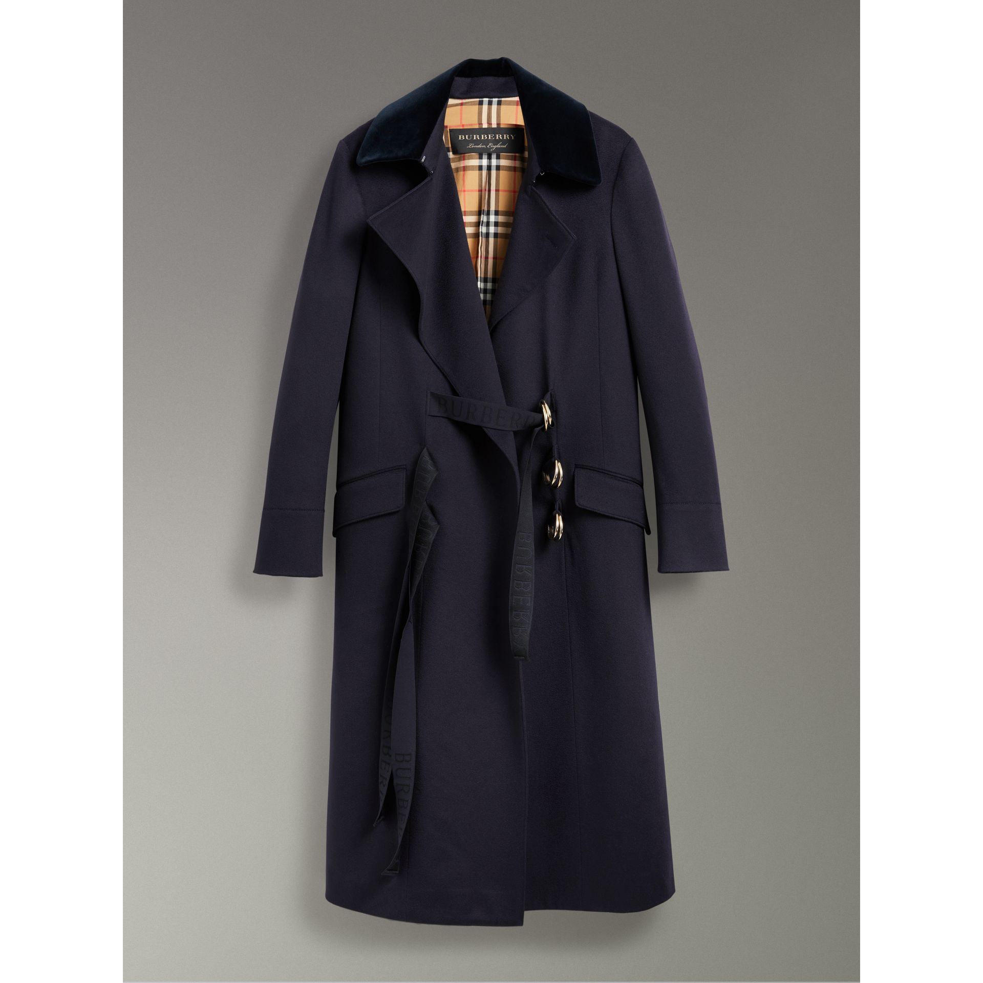 D-ring Detail Doeskin Wool Coat in Dark Navy - Women | Burberry - gallery image 3