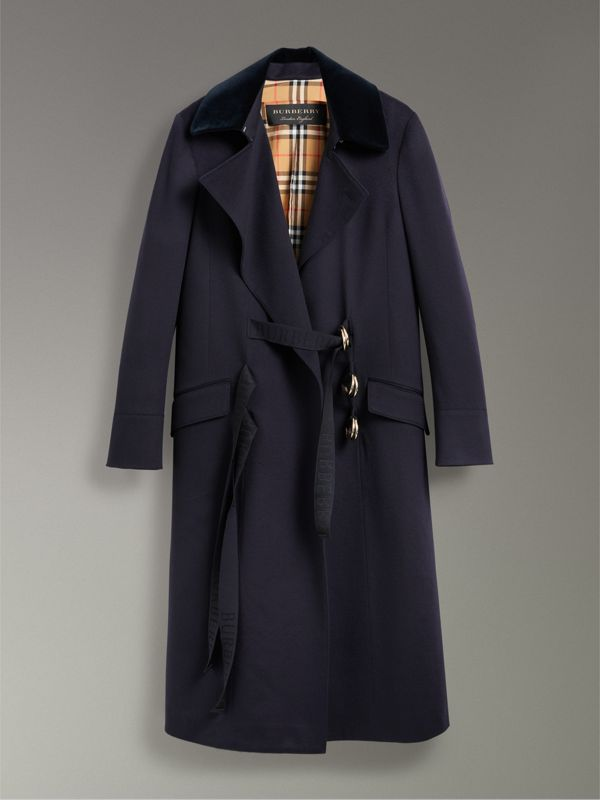 D-ring Detail Doeskin Wool Coat in Dark Navy - Women | Burberry - cell image 3