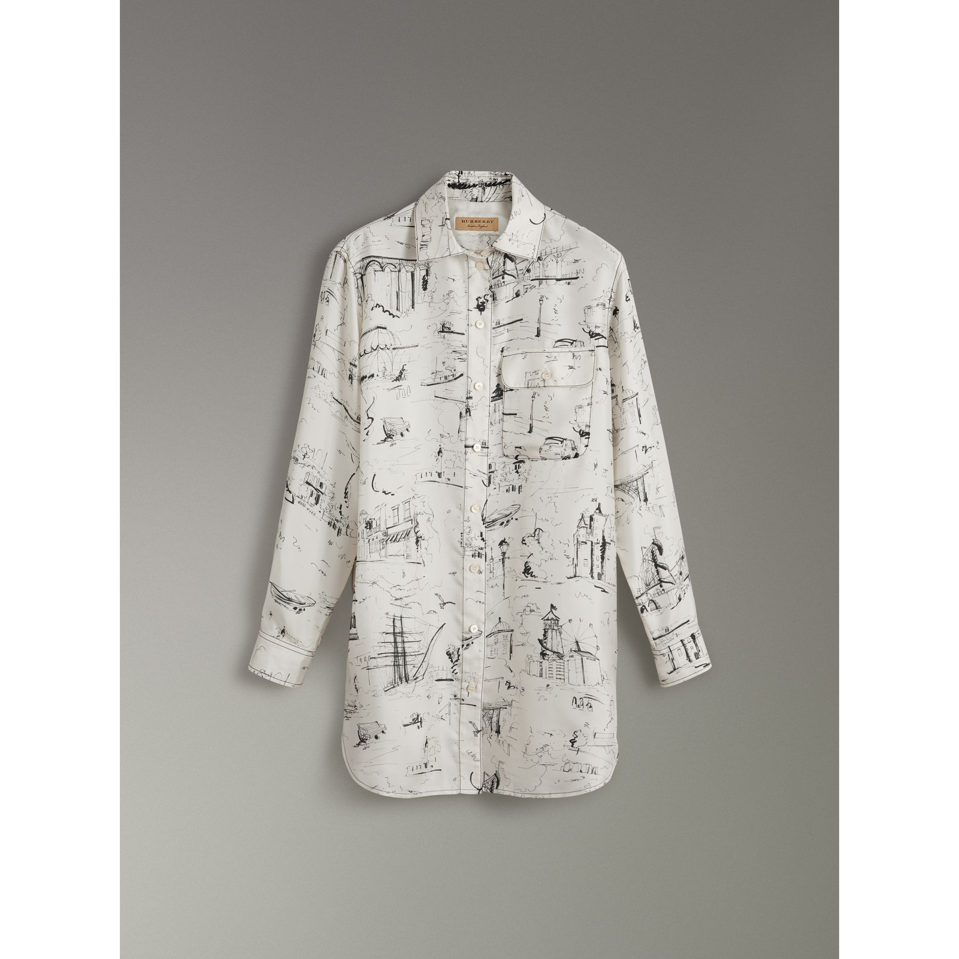 Landmark Print Silk Longline Shirt in Off White - Women | Burberry - gallery image 3