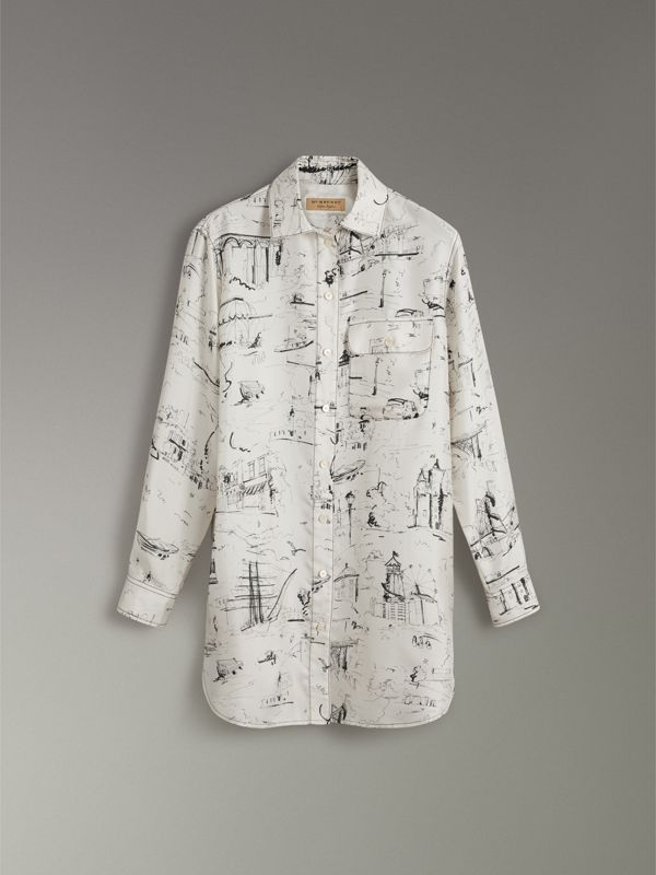 Landmark Print Silk Longline Shirt in Off White - Women | Burberry - cell image 3