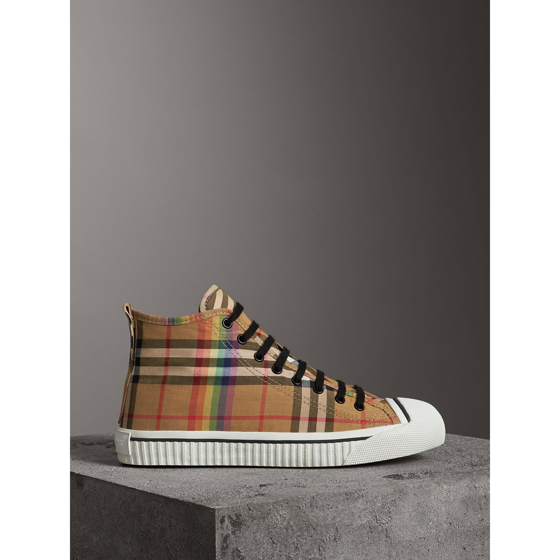Rainbow Vintage Check High-top Sneakers in Antique Yellow | Burberry - gallery image 4