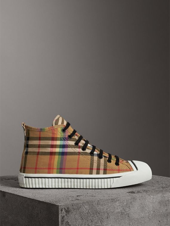 Rainbow Vintage Check High-top Sneakers in Antique Yellow