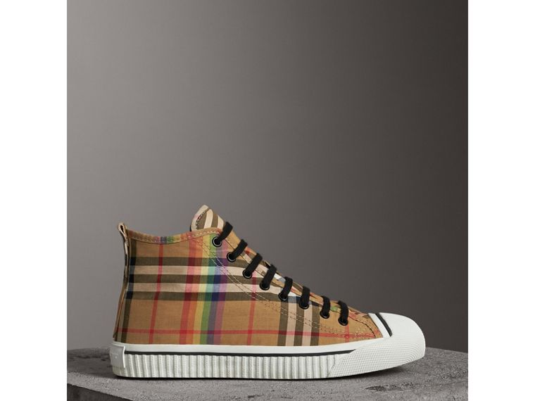 Rainbow Vintage Check High-top Sneakers in Antique Yellow | Burberry - cell image 4