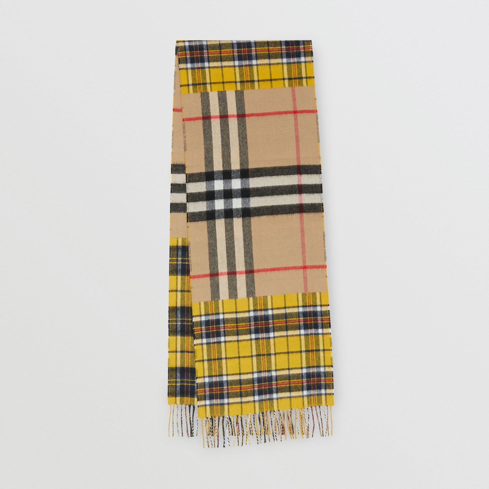 Contrast Check Cashmere Merino Wool Jacquard Scarf in Canary Yellow | Burberry - gallery image 0