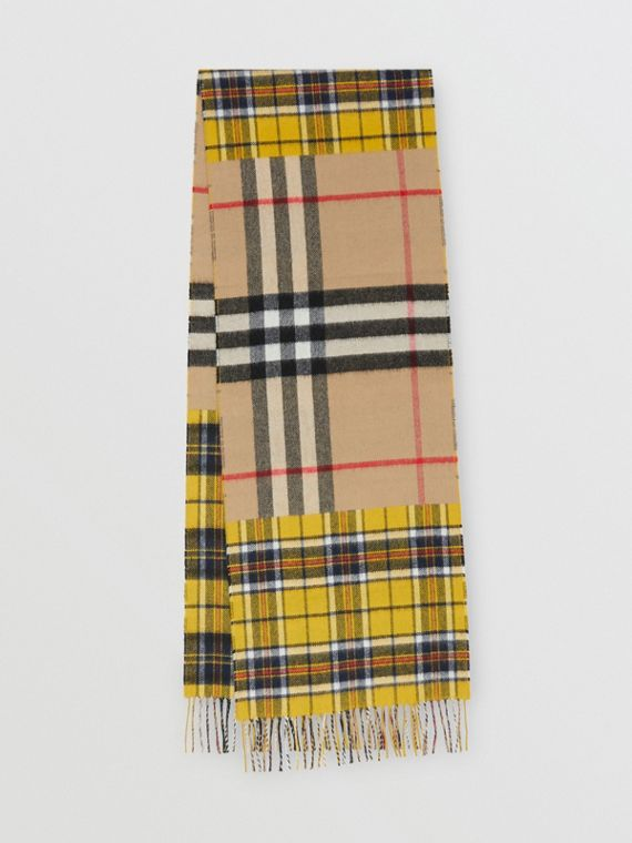 Contrast Check Cashmere Merino Wool Jacquard Scarf in Canary Yellow