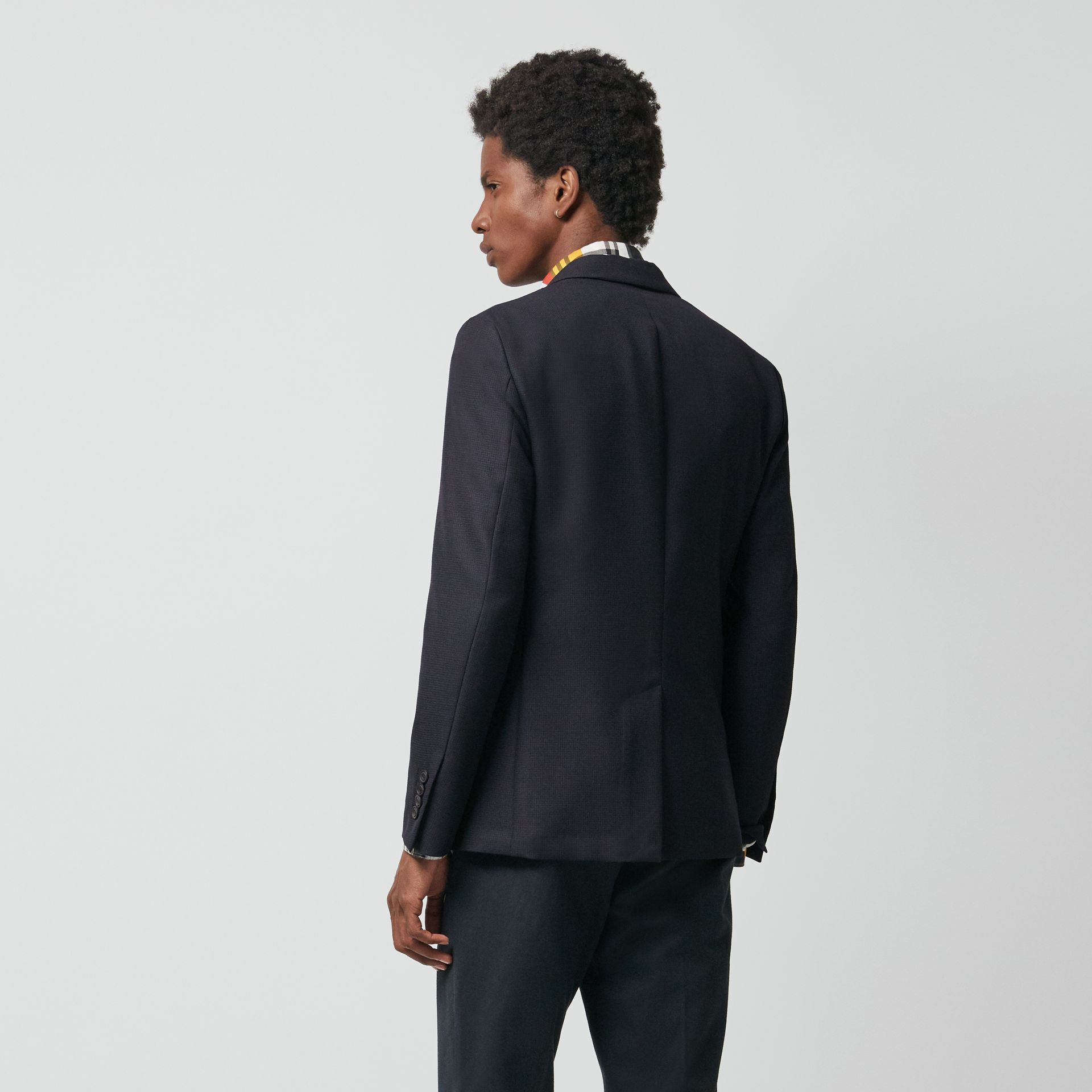Wool Mohair Tailored Jacket in Midnight - Men | Burberry United Kingdom - gallery image 3