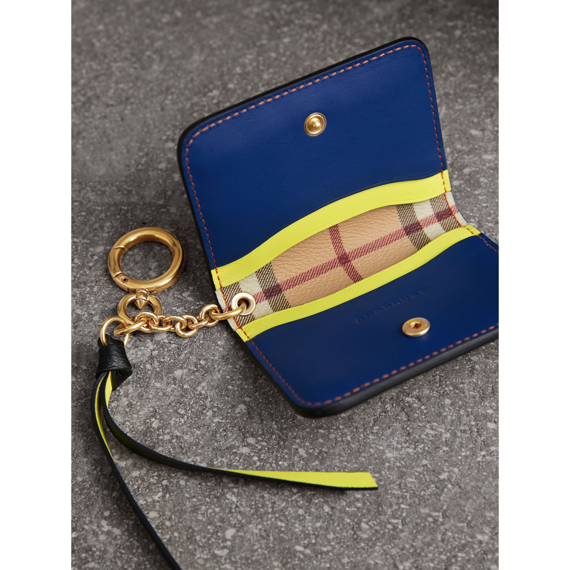 Leather and Haymarket Check ID Card Case Charm in Black/multicolour - Women | Burberry Canada - gallery image 3