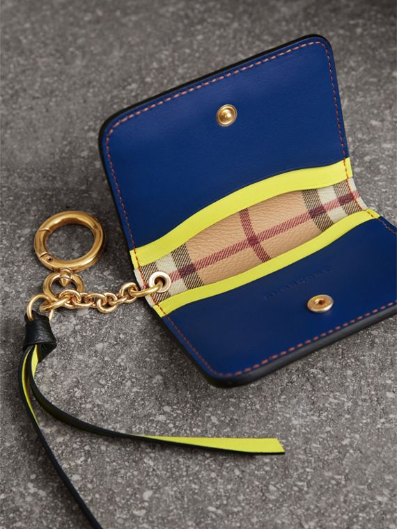 Leather and Haymarket Check ID Card Case Charm in Black/multicolour - Women | Burberry - cell image 3