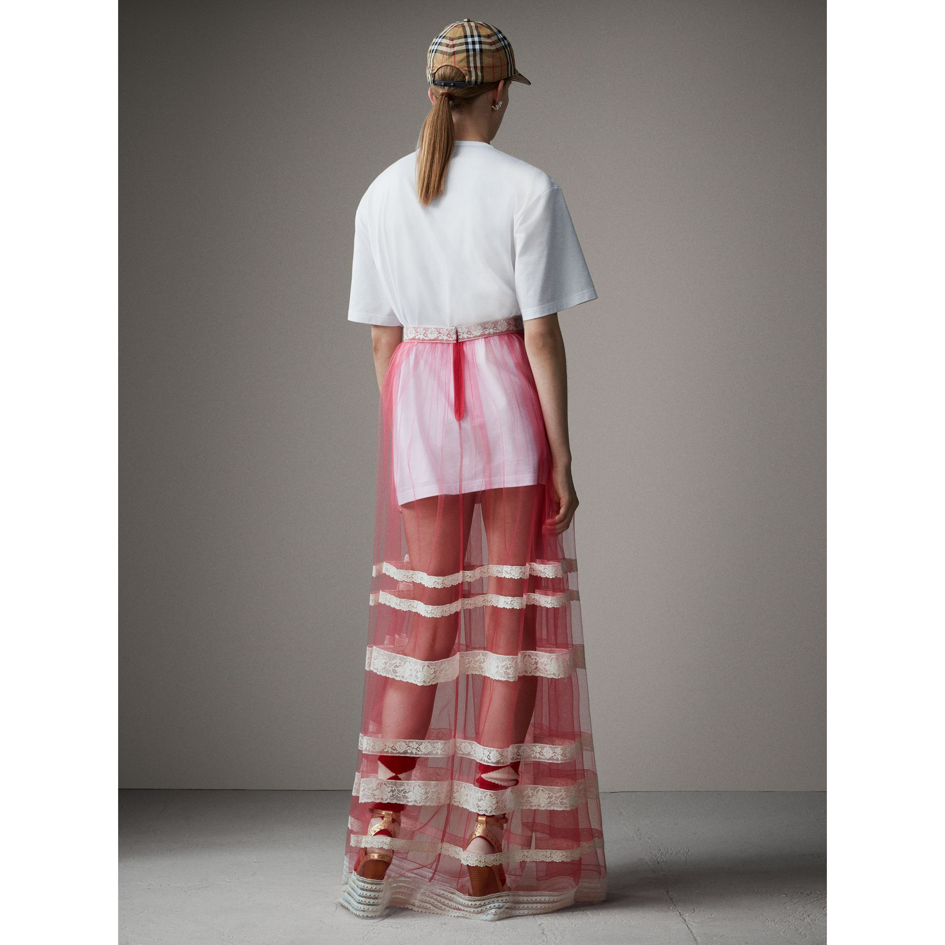 Floor-length English Lace Trim Tulle Skirt in Bright Pink - Women | Burberry Singapore - gallery image 3